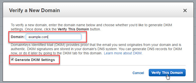 How to configure Amazon SES for your domain name to send emails